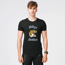 Wholesale Mens Designer Casual Shirts - 2018 Hot Sale T-shirt Summer Casual Short Sleeve Stretch Designer Shirt Mens Slim Crew Neck Korean Tide Cotton Jersery Tee Large Size M-5XL