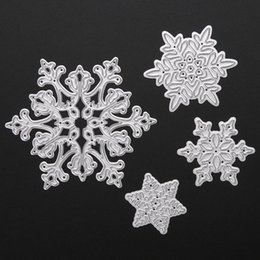 Wholesale Metal Albums - 4pcs Christmas Snowflake Metal Cutting Dies Stencils for Scrapbooking Album Paper Card Diary Hand Craft Template Decorative