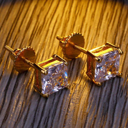 1c9bf785f Mens Hip Hop Stud Earrings Jewelry High Quality Fashion Gold Silver  Simulated Diamond Square Earrings For Men