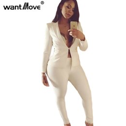 Wholesale Womens Winter Outfits - S-XL Women 2018 New Fashion Spring Autumn winter Style White Pants Bodycon Suit 2 Piece Outfits Pants Womens Clothing Set XD239