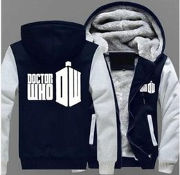 Wholesale Funny Doctors - Doctor Who TV Series Funny Hoodies Men fleece Casual Letter 3D Tops Long- Sleeve Thicken Zipper Jacket Plus size