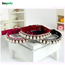 Wholesale Dog Collar Leather Diamond - Pet Accessories PU Leather Spike Dog Collars Bling Rhinestone Collar Pearl Diamond Necklaces Puppy Collar for Small Medium Pets