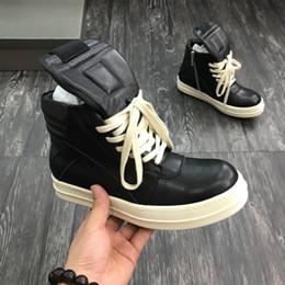 Рик качество Новый Owens Geobasket натуральная кожа кроссовки черный человек Белый большой размер высокого топ мода обувь сапоги Женщины Повседневная теннис от