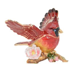 Wholesale Novelty Jewelry Boxes - Cardinal Bird Trinket & Jewelry Box Bird Figurine Collectible Metal Crafts Tabletop Ring Holder Necklace Container Novelty Gifts