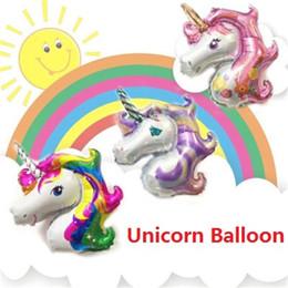 Wholesale Horses Coats - Big size Rainbow Unicorn Balloons Party Supplies Foil Balloons Kids Cartoon Animal Horse Birthday Party Decoration Unicorn Balloons z047