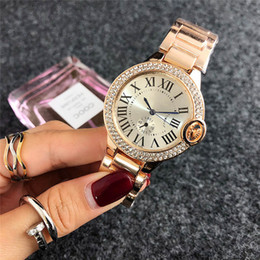 Wholesale womens gold dresses - 2018 Fashion brand rose gold watch diamonds watches womens Designer Ladies dress white faces black roman dials Stainless steel quartz clock