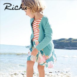 Wholesale Mixed Toddler Girls - Richu knee length summer dresses for girls christmas costumes for kids red striped baby girl clothes dresses baby clothing mix size toddler