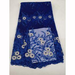 2019 королевская синяя нигерийская кружевная ткань Стильная дешевая цена Африканская кружевная ткань 2018 Royal Blue вышивка французская сетка из бисера нигерийская чистая кружева ткани материал дешево королевская синяя нигерийская кружевная ткань