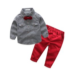 Wholesale toddler boys formal suits - Spring Autumn Boys Clothes Sets Gentleman Suit Toddler Boys Clothing Set Long Sleeve Shirt with Bow + Pants Kids Clothes Baby Boy Clothes