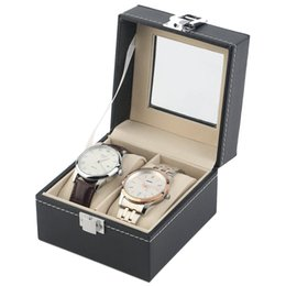 2019 montres légères 2 grille en cuir PU noir boîtes de montre de la boîte portative poids léger montre support de stockage avec fenêtre sac cosmétique organisateur AAA988 promotion montres légères