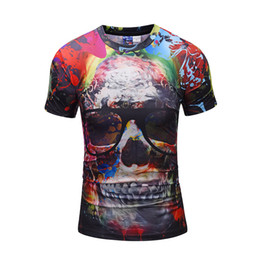 Wholesale Printed 3d Glasses - Fashion Men T-Shirts Short Sleeve Skull 3D Print Funny Glasses Skull Graphic Casual Tee Shirt Womens Mens Summer Tee