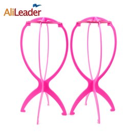Wholesale sell wigs wholesale - Brand Selling Durable Plastic Wig Stand Stable Folding Hair Hat Cap Holder 1PC Professional Wig Holders For Styling Wig Display