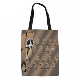 2019 sacs à main en couleur blanche Sac de femmes de mode sac à main femme toile RACOON 3D impression sacs à bandoulière pour dame grand sac fourre-tout toile sacs à provisions
