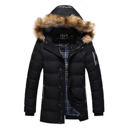 Wholesale Men Faux Fur Parka - Winter Mens Thick Warm Down Jackets Faux Fur Hooded Down Coats 3XL Plus Size Causal Male Parka Masculina Brand Clothing 2017