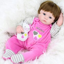 Wholesale realistic soft toys - 45CM Reborn Baby Dolls Silicone Real Looking Newborn Realistic Doll Kids Play House Toys Gift Lifelike Dolls for Sale