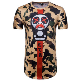 Uomini della maglietta panda online-Camicie estive 2018 New Style T-Shirt manica corta per uomo Camouflage Angry Panda Stampa Hip Hop Short before Long T-Shirts Wholesale