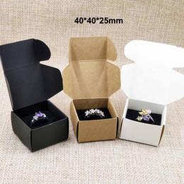 Wholesale Custom Packing Boxes - 20pcs brown white black cardboard ring packing display box with black velvet sponage inside custom logo moq 1000pcs