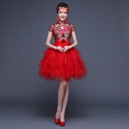 Vestido curto oriental on-line-2016 Moda Chinês Vestido De Noiva Curto Vestido Cheongsam Robe Chinoise Oriental Estilo Vestidos Frete Grátis
