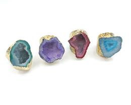homens anel de ouro ágata Desconto JLN Ágata Geode Anel Tamanho Livre Azul Royal Sparkly Druzy Oco Ágata Gemstone Declaração Anel De Ouro Para O Homem E a Mulher