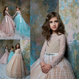 pentelei dresses Coupons - Pentelei 2019 Latest Cute Sequin Flower Girl Dresses Jewel Beads Ball Gown Blings Flowers Long Sleeves Sash Floor Length Peagent Dresses