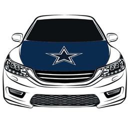 Cubiertas del capó del coche online-Bandera de la cubierta de la capucha de los Dallas Cowboys, 100% spandex, tejido proyectil de cuatro lados, bandera del capo del coche bandera del motor del envío libre