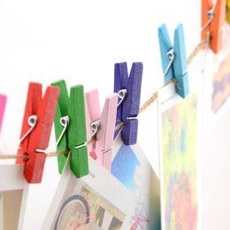 Mini clips de primavera Pinzas para la ropa Diseño hermoso 35 mm Colorido de madera Craft Clavijas para colgar la ropa Papel Foto Tarjetas de mensaje 673 desde fabricantes