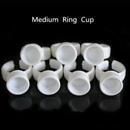 Одноразовые подстаканники онлайн-500 pcs Medium Permanent  Disposable Finger Easy Ring Ink Holders/Cups tattoo accesories