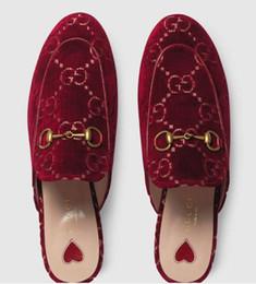 vvtisks5 Real Women Princetown pantofole in velluto pantofole Ciabatte 2019 pelle Pantofole Princetown Pantofole ricamate Sandali Pantofole Mocassini da pompe in pelle piatta fornitori