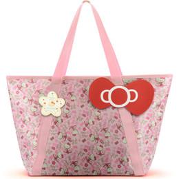 8d75b941261c Oxford Cloth Waterproof Travel Mummy Bag Women Girls Cartoon Bowknot Shoulder  Tote Duffle Bags Cute Hello Kitty Shopping Handbag