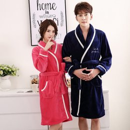 2e88811844 Lovers Winter Thick Flannel Robe Women Men Kimono Bathrobe Gown Casual  Sleepwear Home Clothes Long Sleeve Nightgown Nightdress