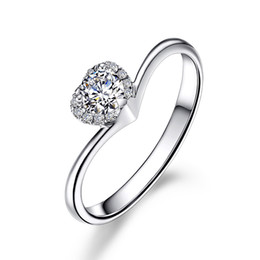Wholesale Cut Diamond Shape - Lovely Heart Shape SONA Heart Cut Diamond Engagement Ring Women 1ct 925 Silver Wedding Ring