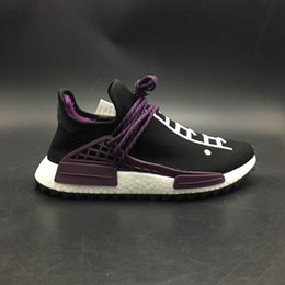 Wholesale Womens Size 12 Flat Shoes - 2018 Traderjoes With Box Human Race Holi Sneakers Mens and Womens Running Shoes for Men Sports Shoes Hu Trail Black Purple Size US5-12