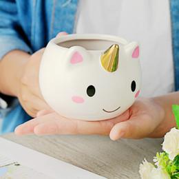 Wholesale porcelain horses - 3d Unicorn Coffee Mug 350ml Cartoon Unicorn Porcelain Coffee Cup Children Creative Gifts Cute Horse Mugs For Travel