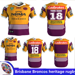 Wholesale El Shirt Iron Man - 2018 NRL JERSEYS BRISBANE BRONCOS heritage Rugby Marvel iron man jersey Rugby Jerseys Free shipping rugby shirts size S -3XL (Can print)