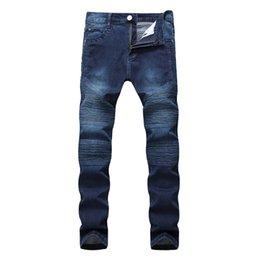 Jeans scarni di lavaggio grigio online-Hi-Street Uomo Strappato Rider Biker Jeans Moto Slim Fit lavato nero grigio blu pantaloni jeans Jogging uomini magri