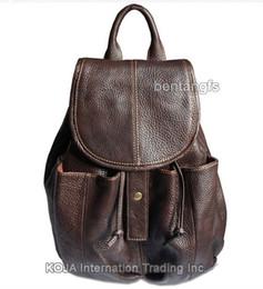 Canada Sac à dos en cuir pour femme à la mode Sac à dos en cuir pour adolescente Véritable sac d'école en cuir femme sac à dos sac à dos marron cheap drawstring browning backpack Offre