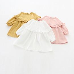 Wholesale Girls Collar Dress Pink - INS styles new arrival Girl dress kids spring long sleeve solid clor round collar ruffles dress girl elegant dress 3 colors free ship