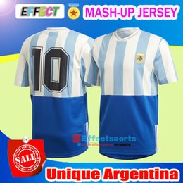Wholesale Unique Shirts Men - 2018 Unique Argentina World Cup Mash-Up Soccer Jersey celebrates Argentina's last major title the 1993 Copa America MARADONA MESSI Shirts