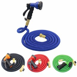 Wholesale Wholesale Water Spray Gun - Bulk Lots Latex 25 50 75 100FT Expanding 8 Patterns Spray Gun Flexible Water Hose with Spray Nozzle Bathroom Faucets Bathroom Accessories