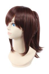 Médio ponytails marrom on-line-Pré-fabricada das mulheres rabo de cavalo traje cosplay completo perucas marrom vermelho médio