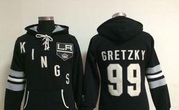 Hoodie do estilo do hóquei on-line-Tomada de fábrica, jogo de campo de gelo Hockey hoodies preto esporte mens novo estilo LA Kings # 99 Logotipos bordados Wayne Gretzky costurados