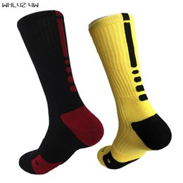 Носки для больших мужчин онлайн-USA  solid Elastic mens compression Socks terry crew sock cotton big size sox Professional towel bottom knee long socks men