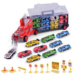Wholesale Car Suits - New Pattern Portable Container Truck Children Funny Simulation Car Model Toy Inertia Alloy Small Cars Suit 34 8lh W