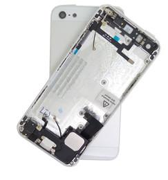 assemblage lunette iphone Promotion NOUVEAU Logement complet pour iPhone 5 5S Cadre central Cadre Cadre arrière Logement de la batterie Couvercle arrière Corps avec câble souple