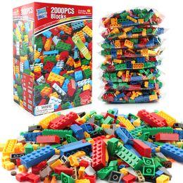 Wholesale Bulk Plastic Toys - 2000PCS Bulk Building Blocks City DIY14 Types 10 Colors Creative Bricks Educational Bricks Block Toys For Children