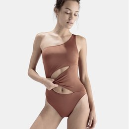 0b2f08725448b Sexy One Shoulder Swimsuit Cut-Out One-Piece Swimwear Beachwear Padded  Bandeau Top Monokini Swimming Suit Beach Bathing Suit XYJH0237