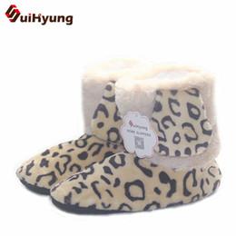 Wholesale Warm Indoor Boots Women - New Women's Winter High-top Cotton Shoes Leopard Pattern Indoor Shoes Warm Plush Soft Floor anti-slip Indoor Boots Floor