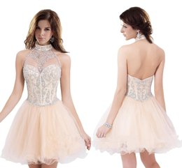 e7ae44aab8 Open Back Halter Neck Rice White Homecoming Dresses Short Organza Short  Prom Dresses Modest New Arrival Crystal Cute Gowns