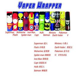 Wholesale vapor skins - Superhero 18650 Battery vaper wrapper vapor mods Captain America PVC Skin Sleeve vaporizer e cigs Heat Shrink Re-wrapped By DHL free