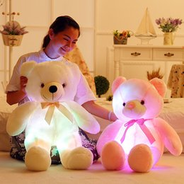 Wholesale Light Up Teddy Bear - 50cm Creative Light Up LED Teddy Bear Stuffed Animals Plush Toy Colorful Glowing Teddy Bear Christmas Gift for Kids W0009